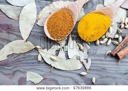 Curry Powder In Spoons On Wooden Table