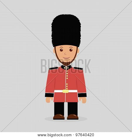 Illustration of a English guard against a light background
