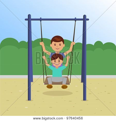 Children on Swing In the Park