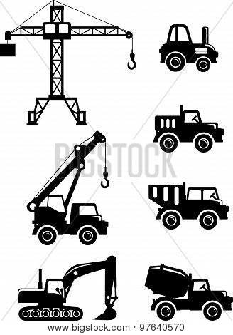 Set of silhouette toys heavy construction machines in a flat style.