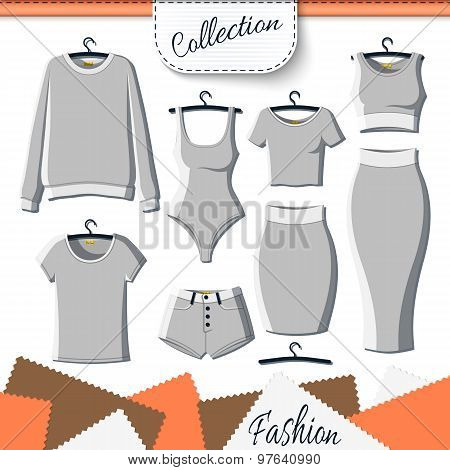 Set of grey clothes to create design on white background