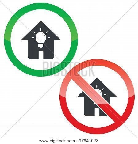 House light permission signs set