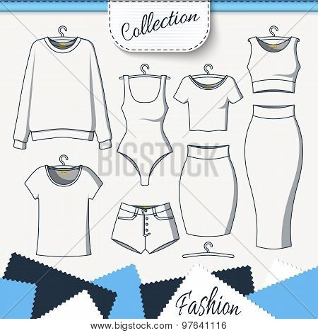Set of clothes to create design on white background