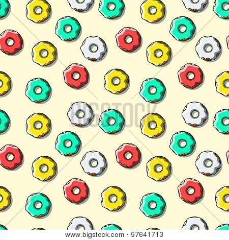 Seamless pattern of bright multi-colored donuts