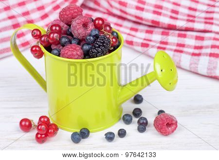 Mixed Berries In Small Decorative Watering Can