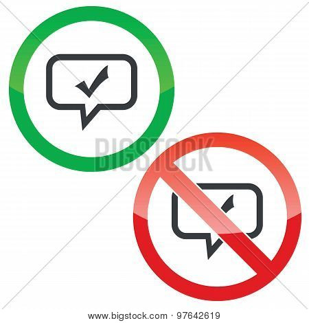 Tick mark message permission signs