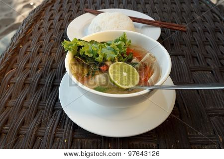 Lemongrass Seafood Soup With Steamed Rice