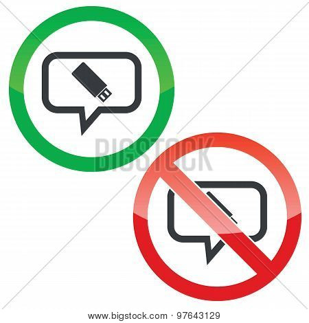 USB stick message permission signs