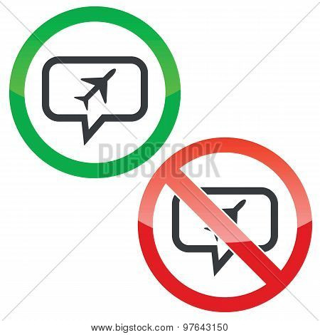 Plane message permission signs