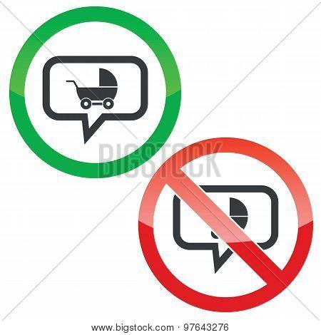 Pram message permission signs