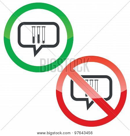 Test-tubes message permission signs