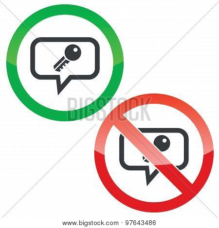 Key message permission signs