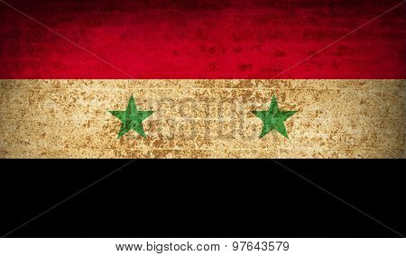 Flags Syria With Dirty Paper Texture. Vector