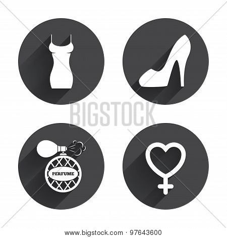 Women dress icon. Sexy shoe sign. Perfume.