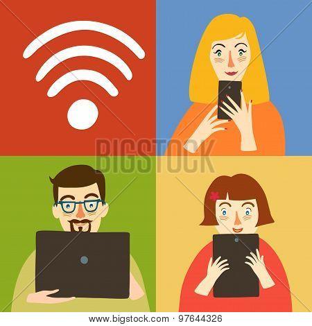 Wi-fi Illustration With Peole