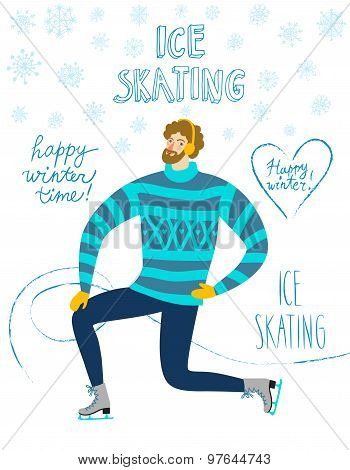 Cartoon Ice Skater  Illustration
