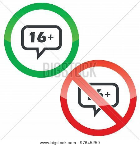 16 plus message permission signs