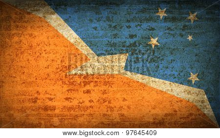 Flags Of Tierra Del Fuego Province With Dirty Paper Texture. Vector