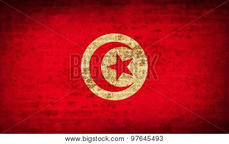Flags Tunisia With Dirty Paper Texture. Vector