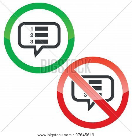 Numbered list message permission signs