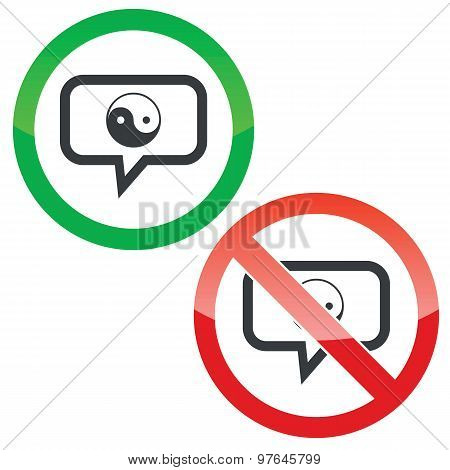 Ying yang message permission signs
