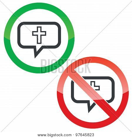 Christian cross message permission signs
