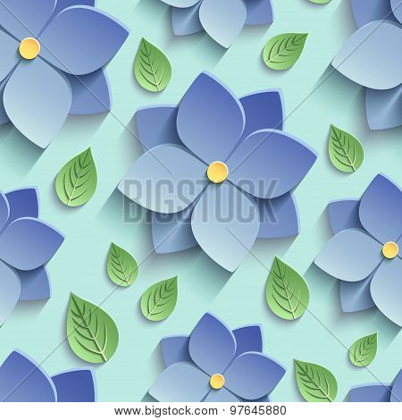 Seamless Pattern With 3D Blue Flowers And Leaves