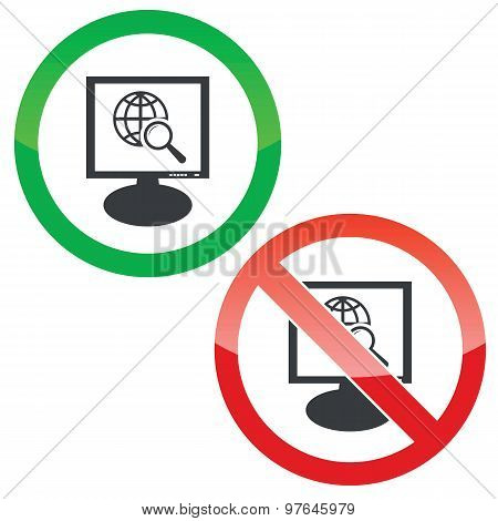 Global search monitor permission signs
