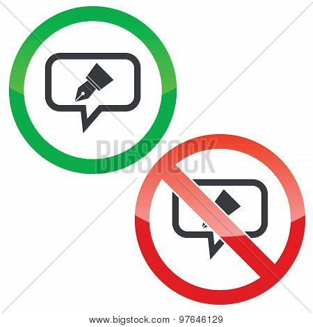 Pen nib message permission signs