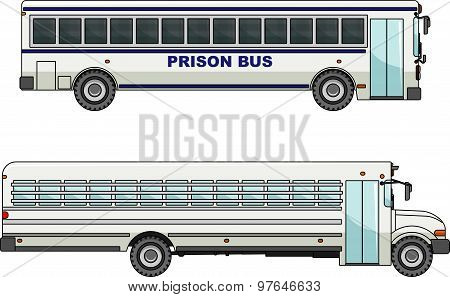 Prison Bus Isolated On White Background In Flat Style