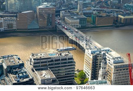 LONDON, UK - APRIL 22, 2015:  London view includes River Thames, London bridge and Shard. Panoramic