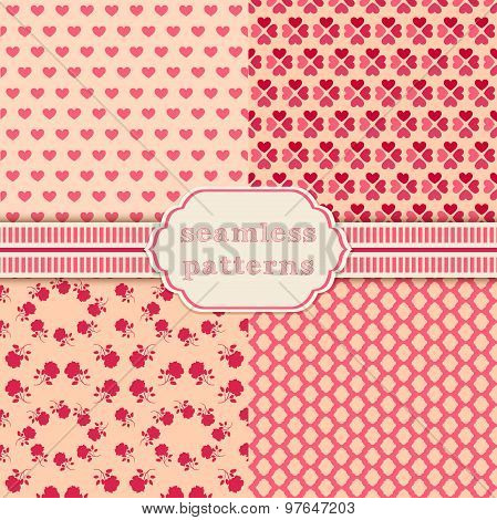 Romantic vector seamless patterns. Cover for Valentines day background design.