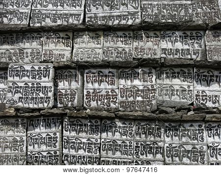 Mani Wall, Buddhist Mantra Carved In Stones