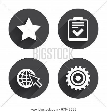 Star and globe signs. Checklist, gear.