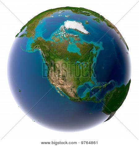 Постер, плакат: Реалистка ст планеты Земля с природной водой, холст на подрамнике