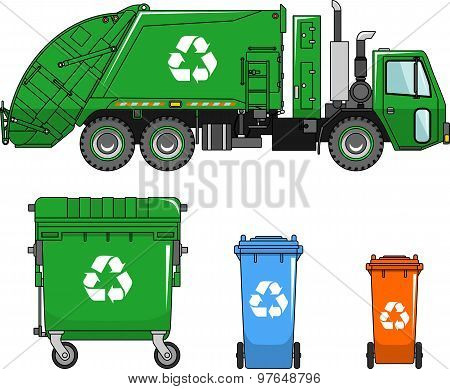 Garbage Truck And Different Types Of Dumpsters On A White Background In A Flat Style