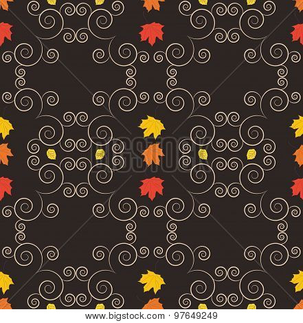 Autumn seamless pattern, ornamental wallpaper, art vector illust
