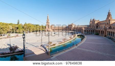 Panoramic View Of The Plaza De Espana In Seville