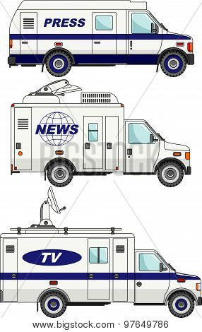 Cars Crew News, The Press And Television On A White Background In A Flat Style