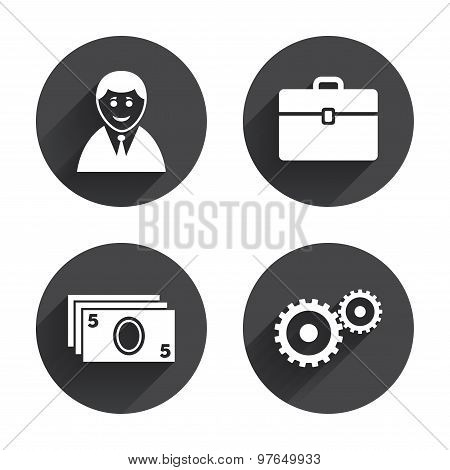 Businessman signs. Human and cash money icons.