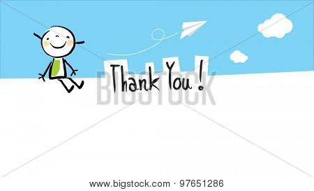 Happy kid thank you card with blank space for text insertion. Vector doodle style illustration.