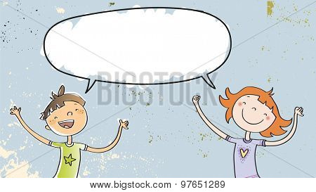 Happy girl and boy speaking a message, with blank speech balloon. Doodle style hand drawn illustration, vector line art. Communication concept.
