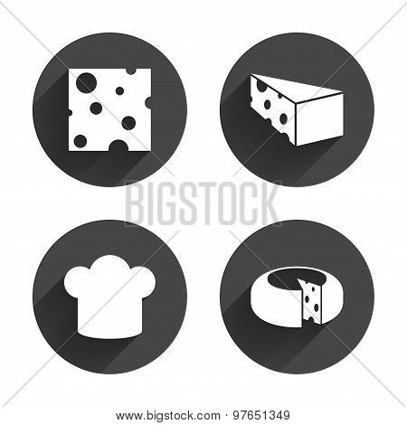 Cheese sign. Sliced food with chief hat icons.