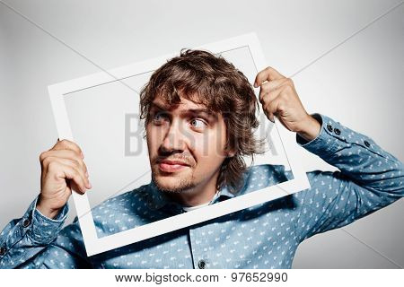 Closeup Portrait Businessman Executive Looking Sideways, Curious Surprised Confused Through White Pi