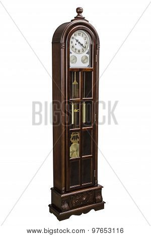Antique Clock With Wood Carved Decoration, Isolated On White, With Clipping Path