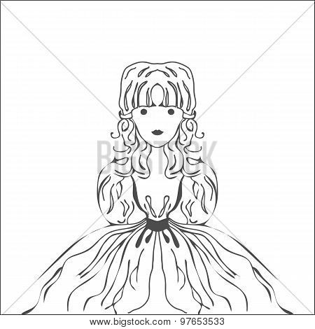 Silhouette Fairy Character Princess With Long Curls