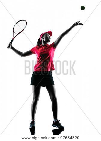 one woman tennis player sadness in studio silhouette isolated on white background