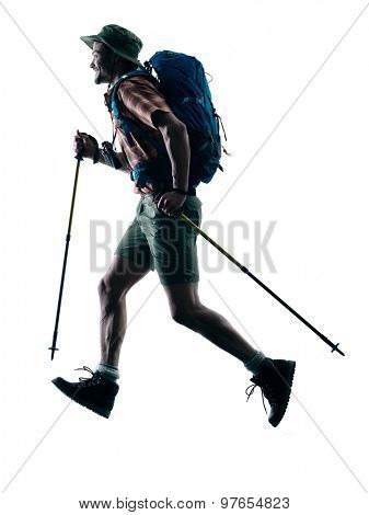 one caucasian man trekker trekking running happy  in silhouette isolated on white background