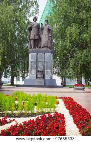 Monument To Saint Prince George Vsevolodovich And His Spiritual Farther Simon Suzdalsky. Kremlin In
