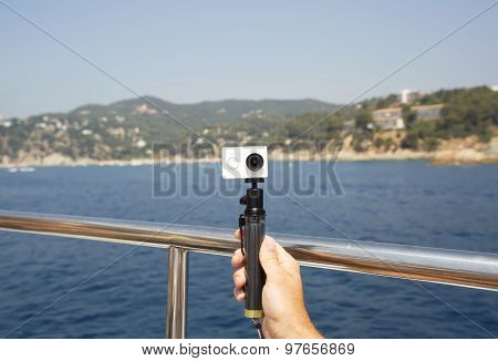 Camera on a monopod for selfie